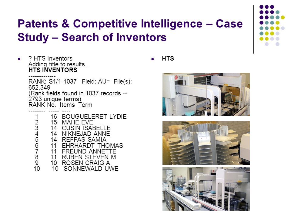 Patents & Competitive Intelligence – Case Study – Search of Inventors HTS .