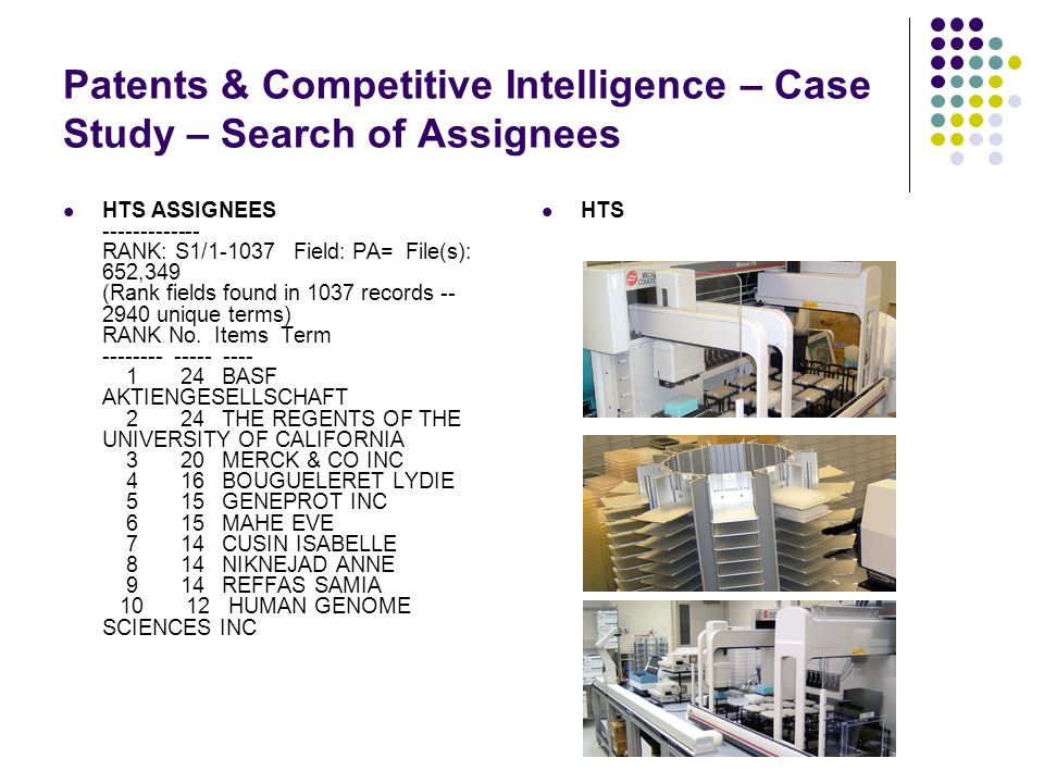 Patents & Competitive Intelligence – Case Study – Search of Assignees HTS HTS ASSIGNEES ------------- RANK: S1/1-1037 Field: PA= File(s): 652,349 (Rank fields found in 1037 records -- 2940 unique terms) RANK No.
