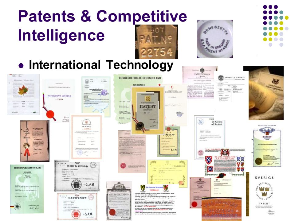 Patents & Competitive Intelligence International Technology
