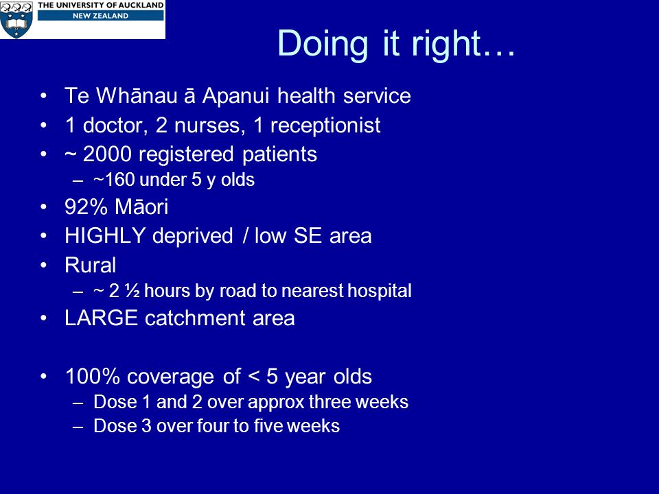 Doing it right… Te Whānau ā Apanui health service 1 doctor, 2 nurses, 1 receptionist ~ 2000 registered patients –~160 under 5 y olds 92% Māori HIGHLY deprived / low SE area Rural –~ 2 ½ hours by road to nearest hospital LARGE catchment area 100% coverage of < 5 year olds –Dose 1 and 2 over approx three weeks –Dose 3 over four to five weeks
