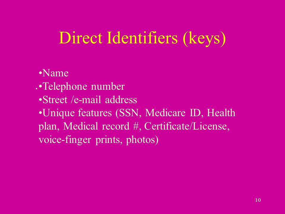 10 Direct Identifiers (keys).