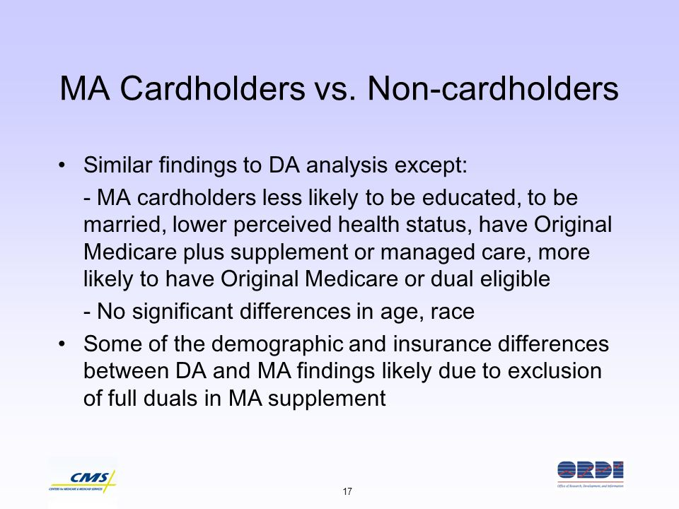 17 MA Cardholders vs. Non-cardholders Similar findings to DA analysis except: - MA cardholders less likely to be educated, to be married, lower percei