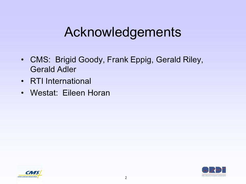 2 Acknowledgements CMS: Brigid Goody, Frank Eppig, Gerald Riley, Gerald Adler RTI International Westat: Eileen Horan