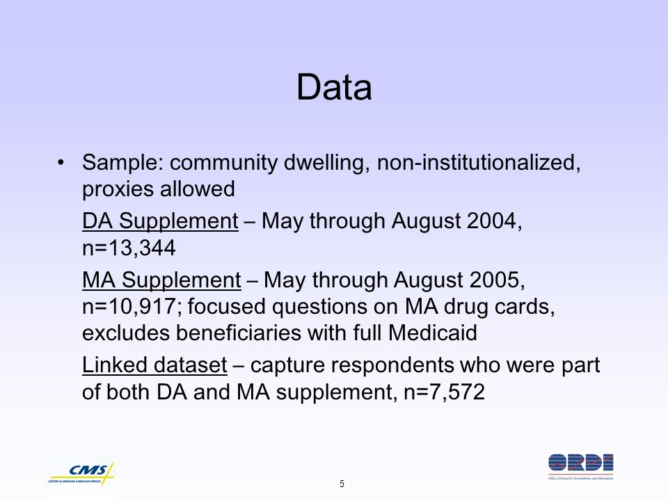 5 Data Sample: community dwelling, non-institutionalized, proxies allowed DA Supplement – May through August 2004, n=13,344 MA Supplement – May throug