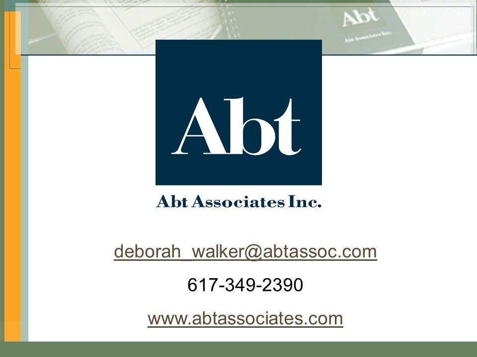 Impact of HIPAA Privacy Rule 20 deborah_walker@abtassoc.com 617-349-2390 www.abtassociates.com