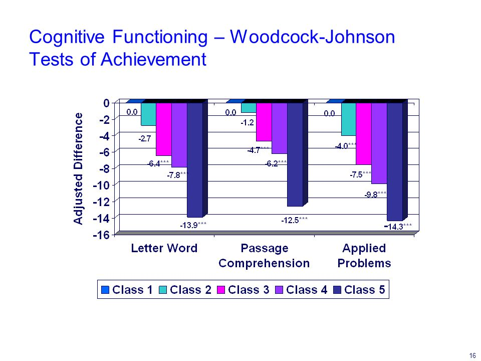 16 Cognitive Functioning – Woodcock-Johnson Tests of Achievement
