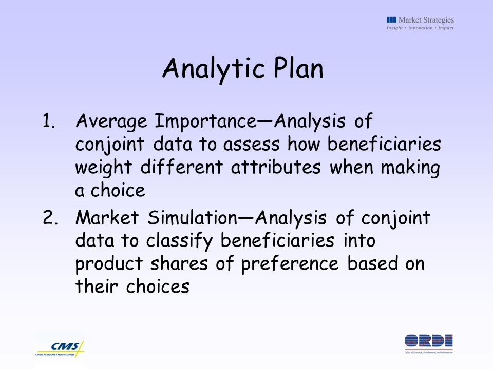 Analytic Plan 1.Average ImportanceAnalysis of conjoint data to assess how beneficiaries weight different attributes when making a choice 2.Market SimulationAnalysis of conjoint data to classify beneficiaries into product shares of preference based on their choices