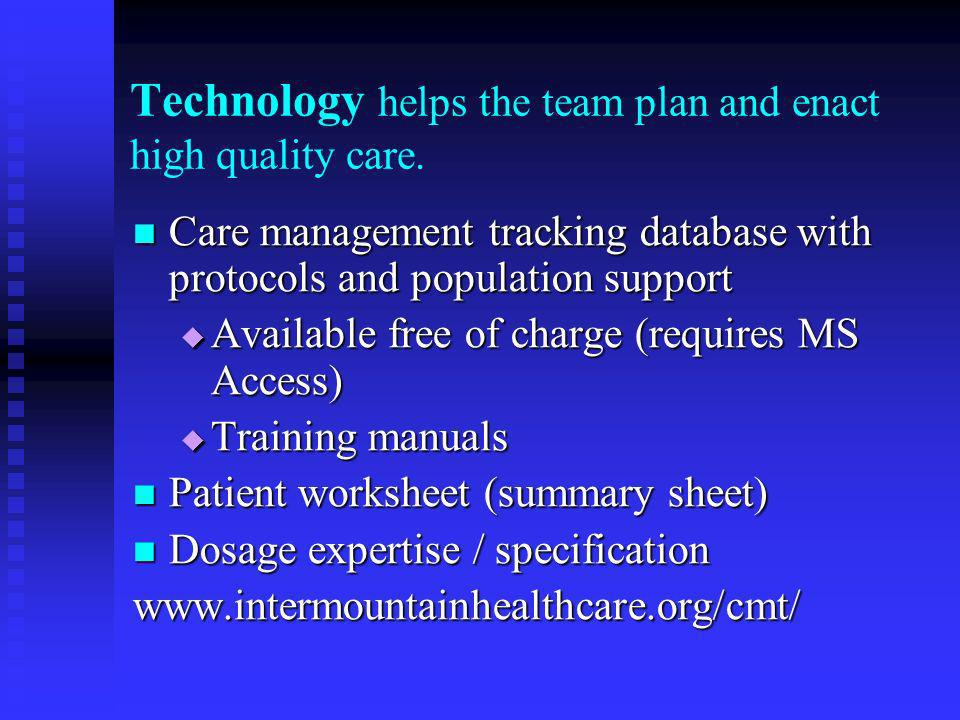 Technology helps the team plan and enact high quality care.