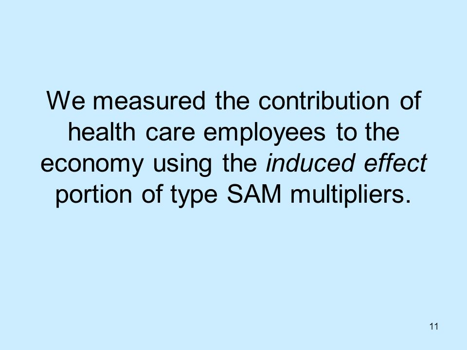 11 We measured the contribution of health care employees to the economy using the induced effect portion of type SAM multipliers.