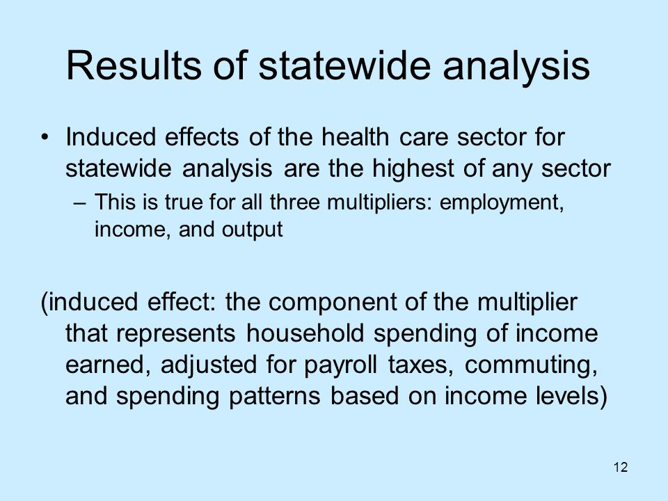 12 Results of statewide analysis Induced effects of the health care sector for statewide analysis are the highest of any sector –This is true for all