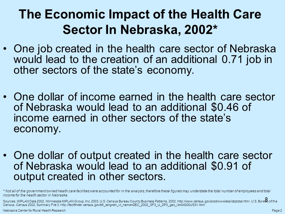 8 The Economic Impact of the Health Care Sector In Nebraska, 2002* One job created in the health care sector of Nebraska would lead to the creation of