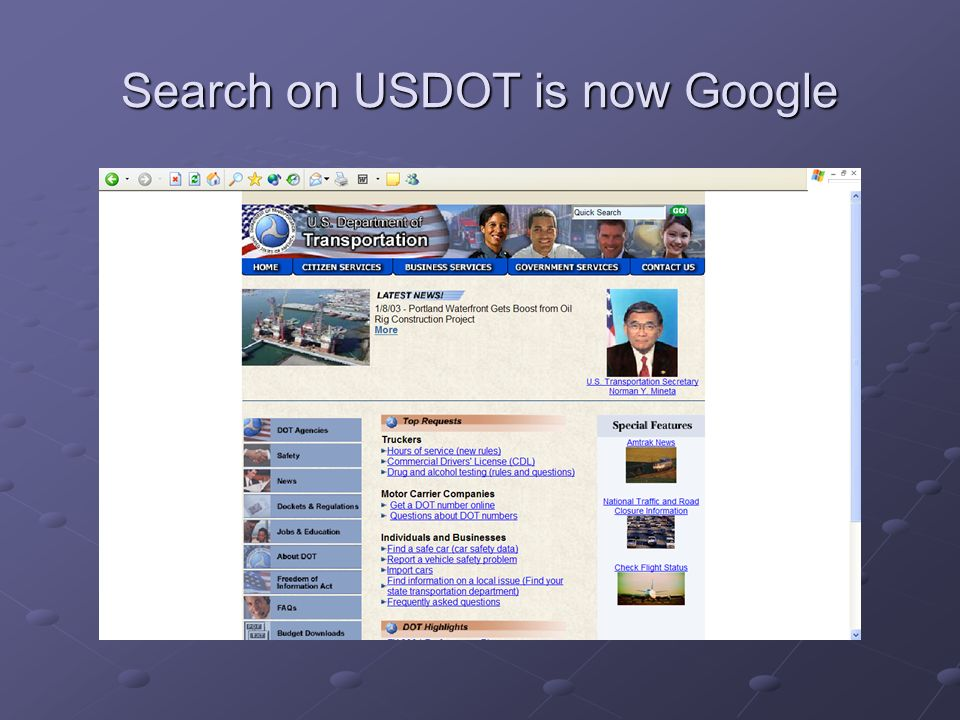 Search on USDOT is now Google