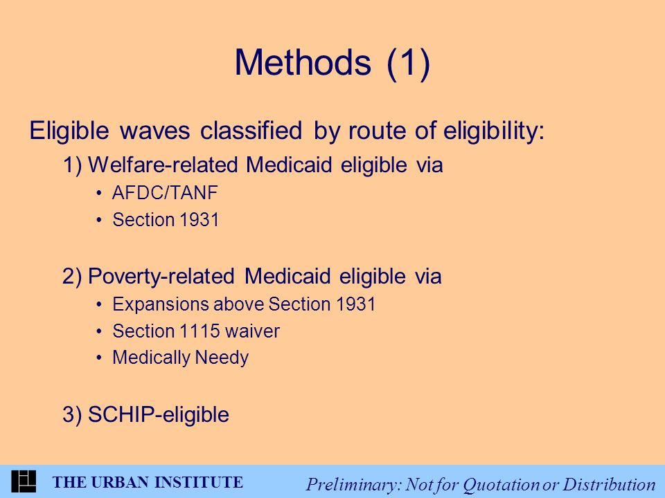 THE URBAN INSTITUTE Preliminary: Not for Quotation or Distribution Methods (1) Eligible waves classified by route of eligibility: 1) Welfare-related Medicaid eligible via AFDC/TANF Section 1931 2) Poverty-related Medicaid eligible via Expansions above Section 1931 Section 1115 waiver Medically Needy 3) SCHIP-eligible