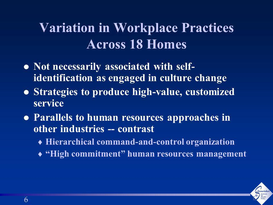 66 Variation in Workplace Practices Across 18 Homes l Not necessarily associated with self- identification as engaged in culture change l Strategies to produce high-value, customized service l Parallels to human resources approaches in other industries -- contrast Hierarchical command-and-control organization High commitment human resources management