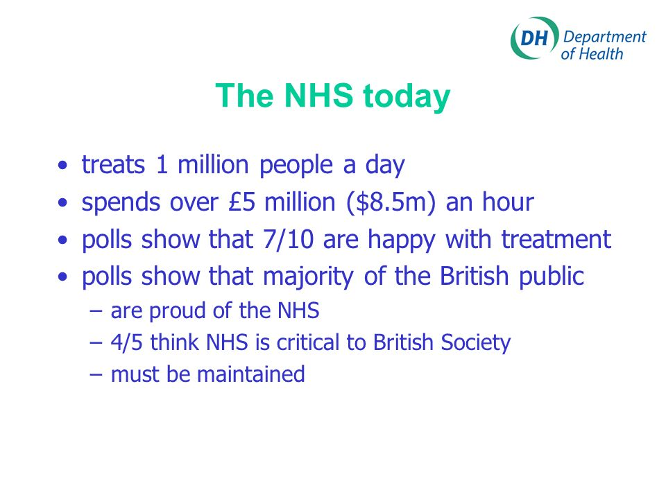 The NHS today treats 1 million people a day spends over £5 million ($8.5m) an hour polls show that 7/10 are happy with treatment polls show that major
