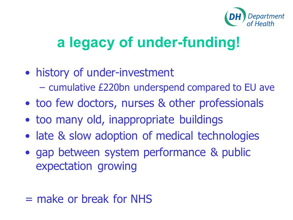 a legacy of under-funding! history of under-investment –cumulative £220bn underspend compared to EU ave too few doctors, nurses & other professionals