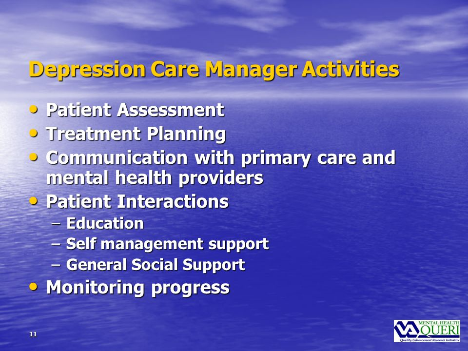 11 Depression Care Manager Activities Patient Assessment Patient Assessment Treatment Planning Treatment Planning Communication with primary care and mental health providers Communication with primary care and mental health providers Patient Interactions Patient Interactions –Education –Self management support –General Social Support Monitoring progress Monitoring progress