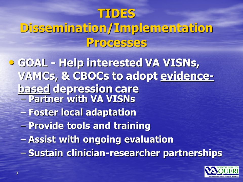 8 TIDES Components Leadership Buy-in/Support Depression Care Manager Provider Education Informatics Support Patient Education Performance Feedback