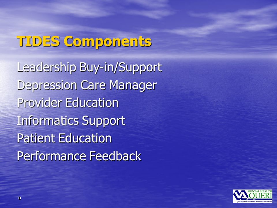 9 TIDES Site First Steps Initial VISN leader communication Initial VISN leader communication Expert panel with horizontal and vertical organizational representation Expert panel with horizontal and vertical organizational representation Identify preferences and action items Identify preferences and action items Form ongoing task groups Form ongoing task groups Initial site visit Initial site visit