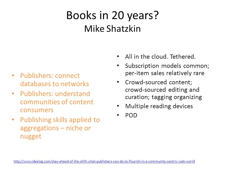 Books in 20 years.