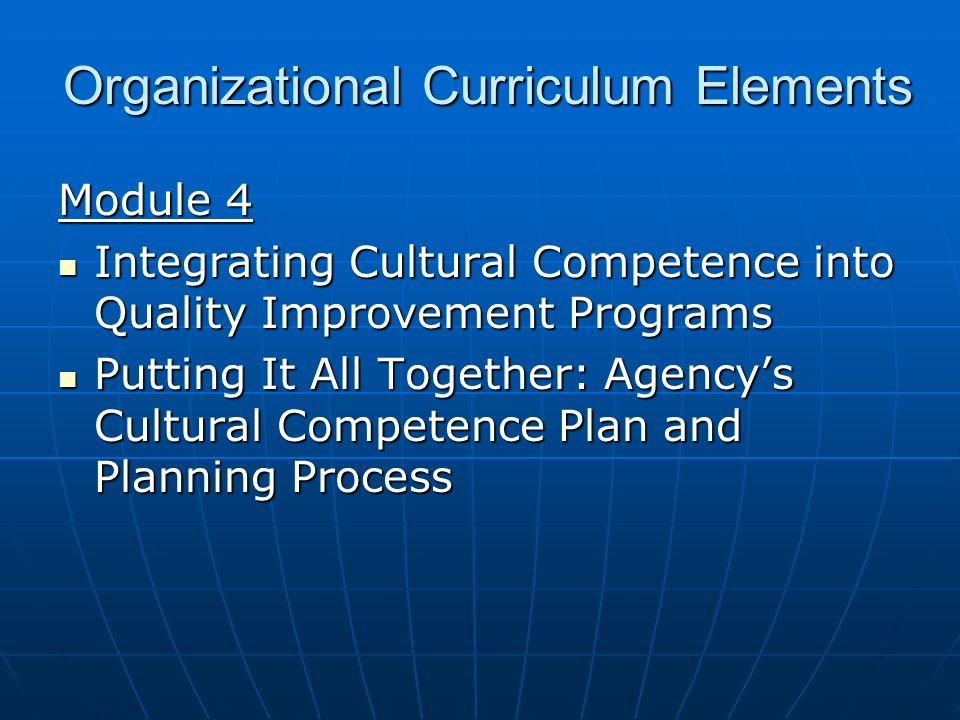Organizational Curriculum Elements Module 4 Integrating Cultural Competence into Quality Improvement Programs Integrating Cultural Competence into Qua