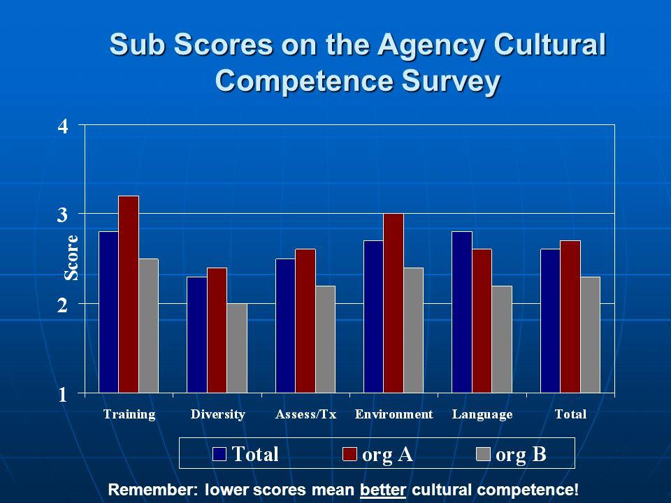 Remember: lower scores mean better cultural competence! Sub Scores on the Agency Cultural Competence Survey