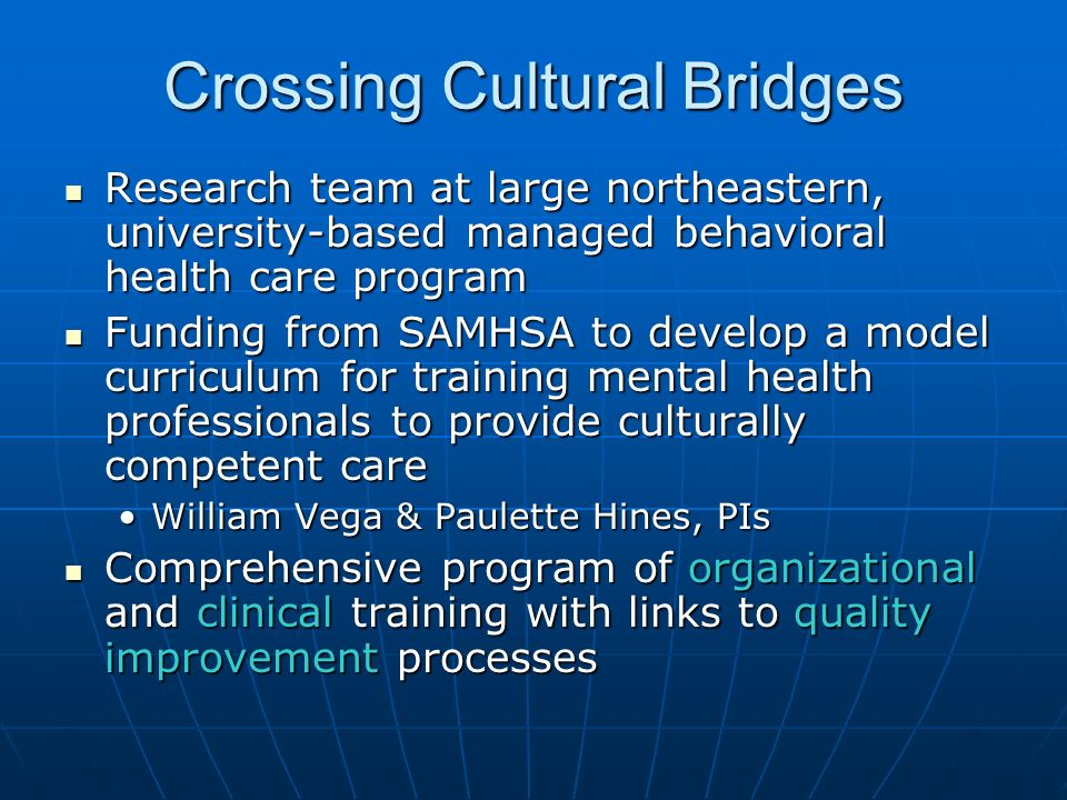 Crossing Cultural Bridges Research team at large northeastern, university-based managed behavioral health care program Research team at large northeas