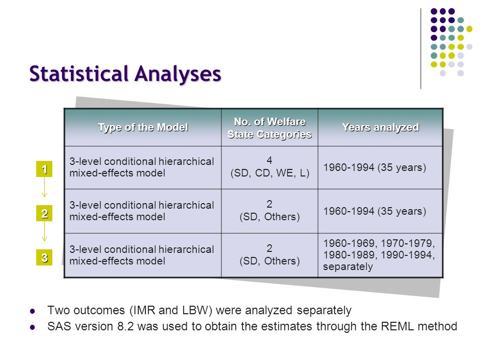 Statistical Analyses Two outcomes (IMR and LBW) were analyzed separately SAS version 8.2 was used to obtain the estimates through the REML method Type of the Model No.