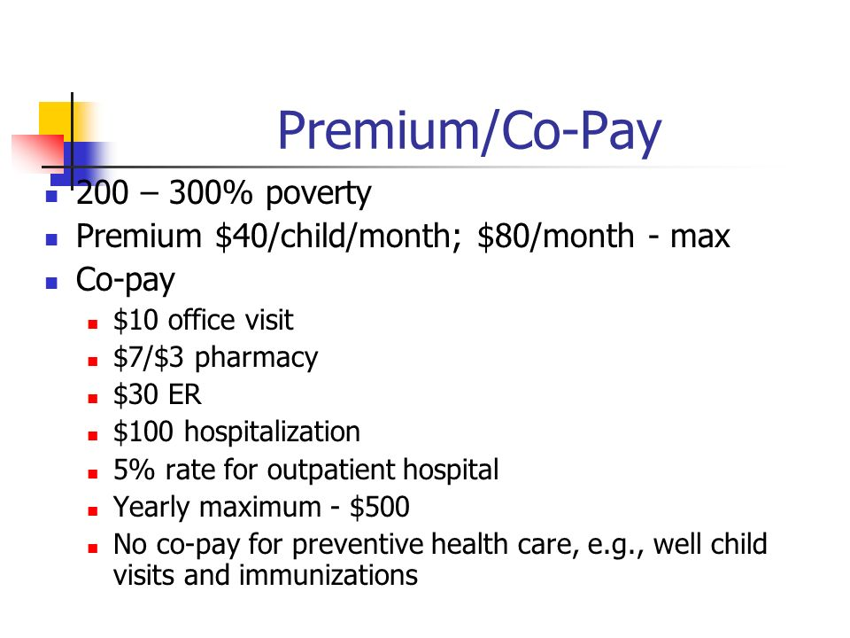 Premium/Co-Pay 200 – 300% poverty Premium $40/child/month; $80/month - max Co-pay $10 office visit $7/$3 pharmacy $30 ER $100 hospitalization 5% rate for outpatient hospital Yearly maximum - $500 No co-pay for preventive health care, e.g., well child visits and immunizations