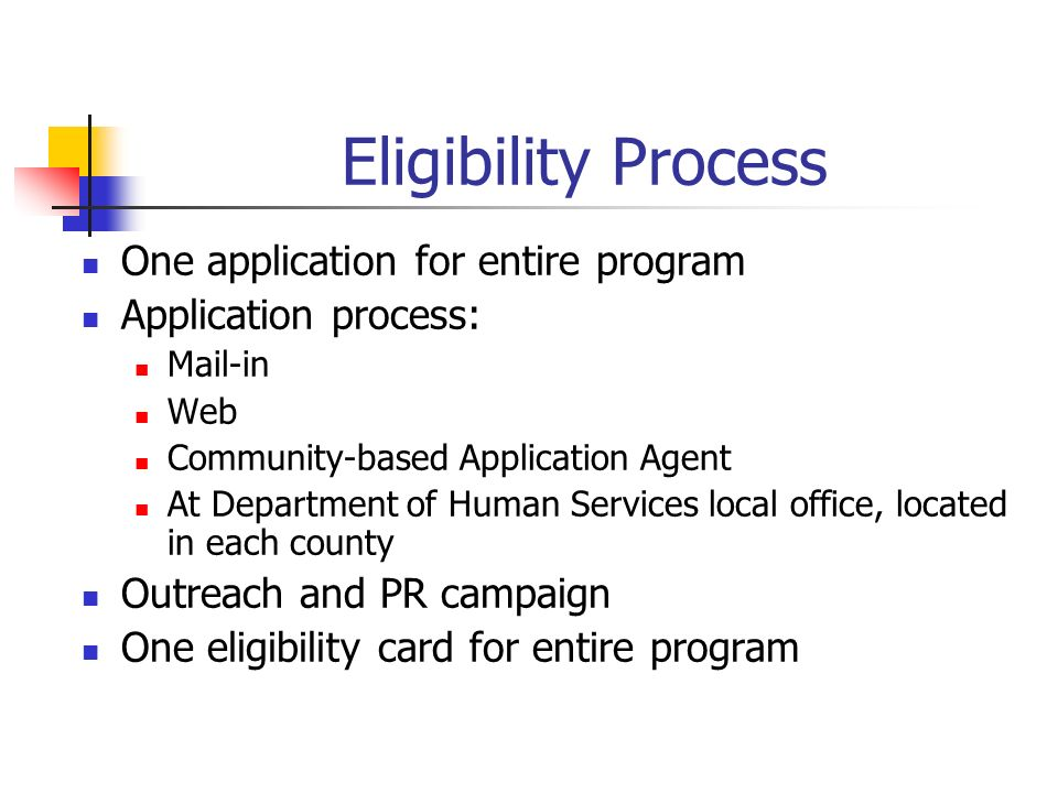 Eligibility Process One application for entire program Application process: Mail-in Web Community-based Application Agent At Department of Human Services local office, located in each county Outreach and PR campaign One eligibility card for entire program