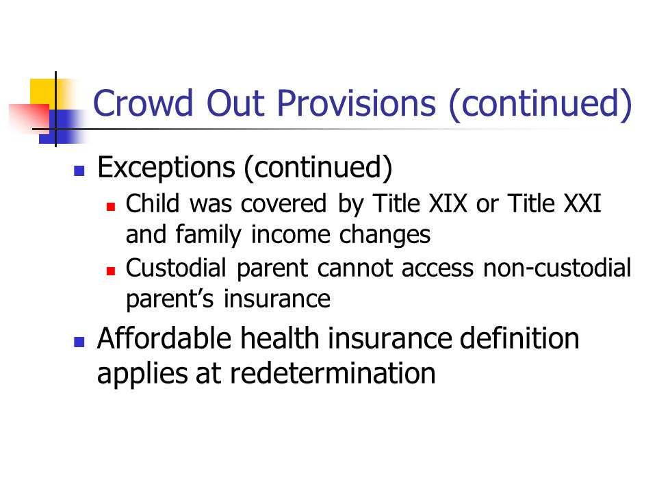 Crowd Out Provisions (continued) Exceptions (continued) Child was covered by Title XIX or Title XXI and family income changes Custodial parent cannot access non-custodial parents insurance Affordable health insurance definition applies at redetermination