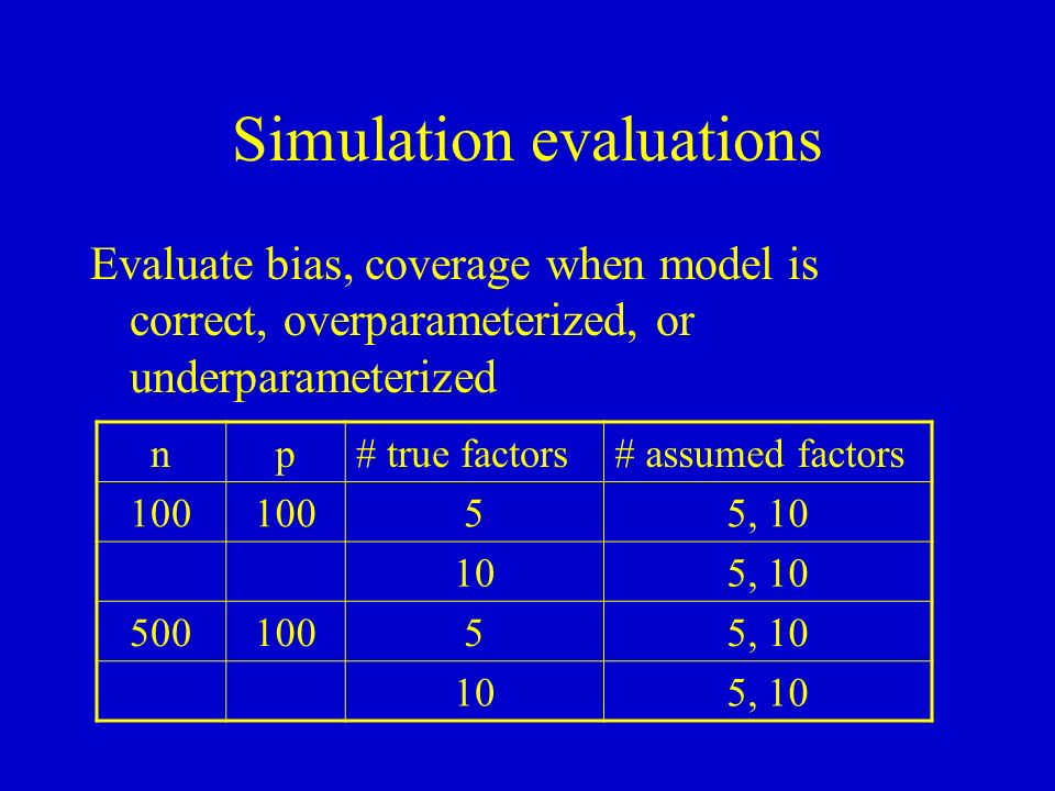 Simulation evaluations Evaluate bias, coverage when model is correct, overparameterized, or underparameterized np# true factors# assumed factors 100 55, 10 105, 10 50010055, 10 105, 10