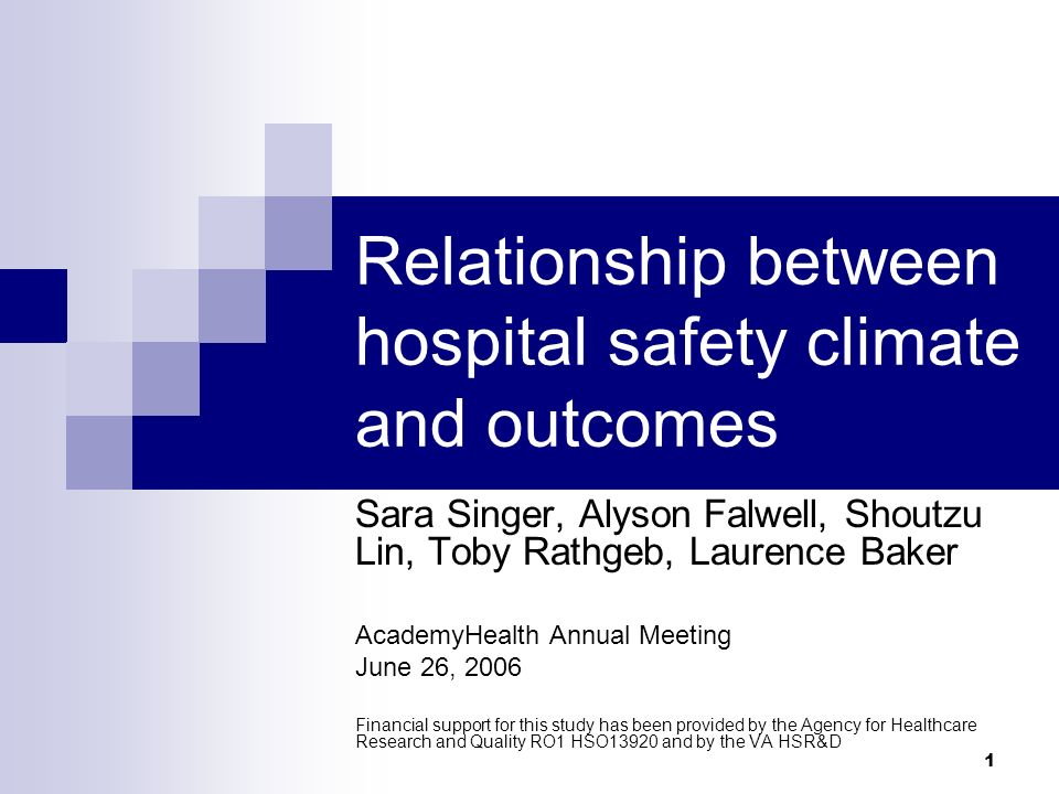 1 Relationship between hospital safety climate and outcomes Sara Singer, Alyson Falwell, Shoutzu Lin, Toby Rathgeb, Laurence Baker AcademyHealth Annual Meeting June 26, 2006 Financial support for this study has been provided by the Agency for Healthcare Research and Quality RO1 HSO13920 and by the VA HSR&D