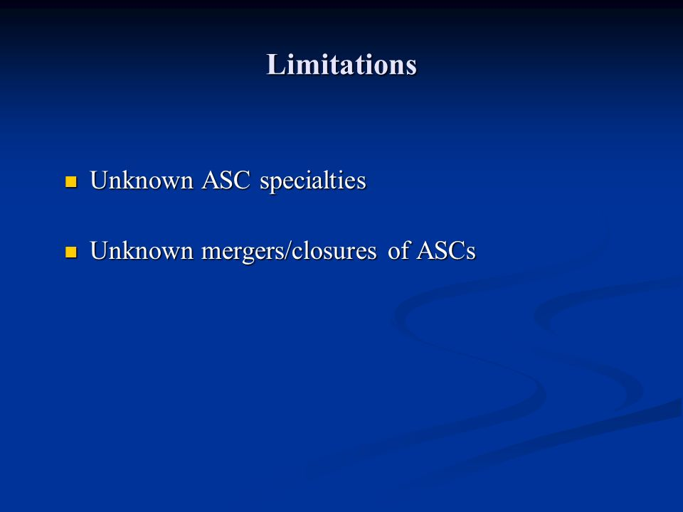 Limitations Unknown ASC specialties Unknown ASC specialties Unknown mergers/closures of ASCs Unknown mergers/closures of ASCs