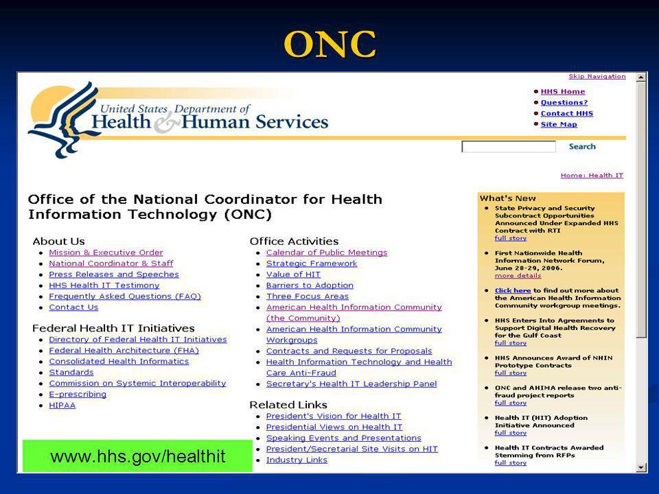 ONC www.hhs.gov/healthit