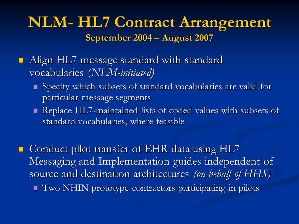 NLM- HL7 Contract Arrangement September 2004 – August 2007 Align HL7 message standard with standard vocabularies (NLM-initiated) Align HL7 message standard with standard vocabularies (NLM-initiated) Specify which subsets of standard vocabularies are valid for particular message segments Specify which subsets of standard vocabularies are valid for particular message segments Replace HL7-maintained lists of coded values with subsets of standard vocabularies, where feasible Replace HL7-maintained lists of coded values with subsets of standard vocabularies, where feasible Conduct pilot transfer of EHR data using HL7 Messaging and Implementation guides independent of source and destination architectures (on behalf of HHS) Conduct pilot transfer of EHR data using HL7 Messaging and Implementation guides independent of source and destination architectures (on behalf of HHS) Two NHIN prototype contractors participating in pilots Two NHIN prototype contractors participating in pilots