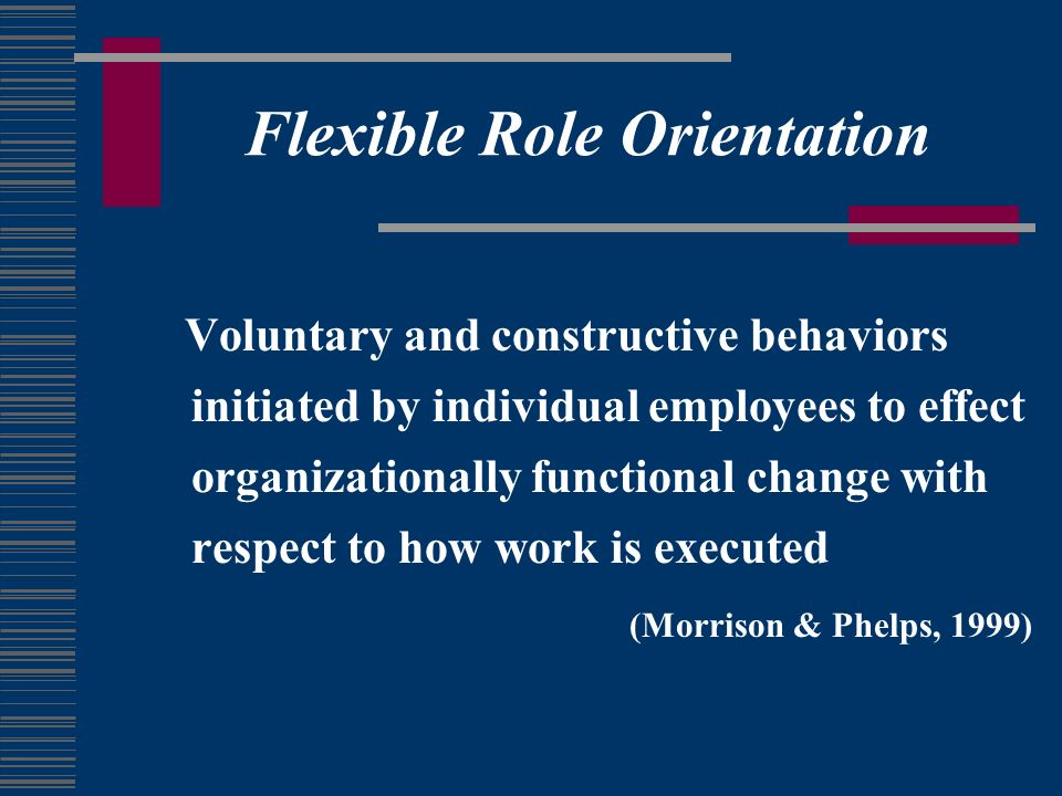 Flexible Role Orientation Voluntary and constructive behaviors initiated by individual employees to effect organizationally functional change with respect to how work is executed (Morrison & Phelps, 1999)