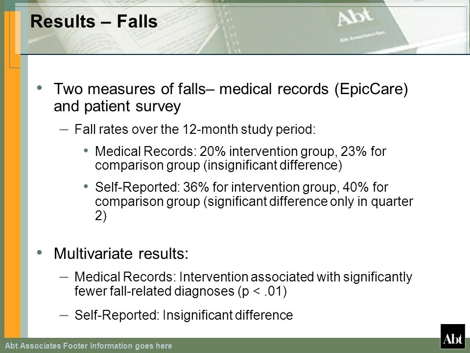 Results – Falls Two measures of falls– medical records (EpicCare) and patient survey – Fall rates over the 12-month study period: Medical Records: 20% intervention group, 23% for comparison group (insignificant difference) Self-Reported: 36% for intervention group, 40% for comparison group (significant difference only in quarter 2) Multivariate results: – Medical Records: Intervention associated with significantly fewer fall-related diagnoses (p <.01) – Self-Reported: Insignificant difference