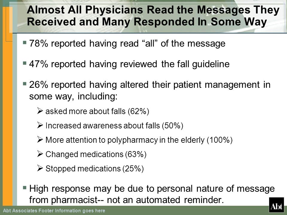 Abt Associates Footer Information goes here Almost All Physicians Read the Messages They Received and Many Responded In Some Way 78% reported having read all of the message 47% reported having reviewed the fall guideline 26% reported having altered their patient management in some way, including: asked more about falls (62%) Increased awareness about falls (50%) More attention to polypharmacy in the elderly (100%) Changed medications (63%) Stopped medications (25%) High response may be due to personal nature of message from pharmacist-- not an automated reminder.