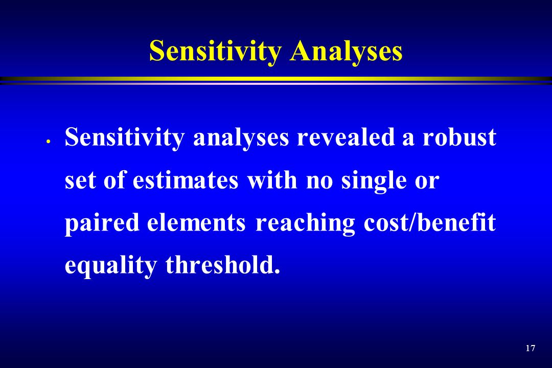 17 Sensitivity Analyses Sensitivity analyses revealed a robust set of estimates with no single or paired elements reaching cost/benefit equality thres