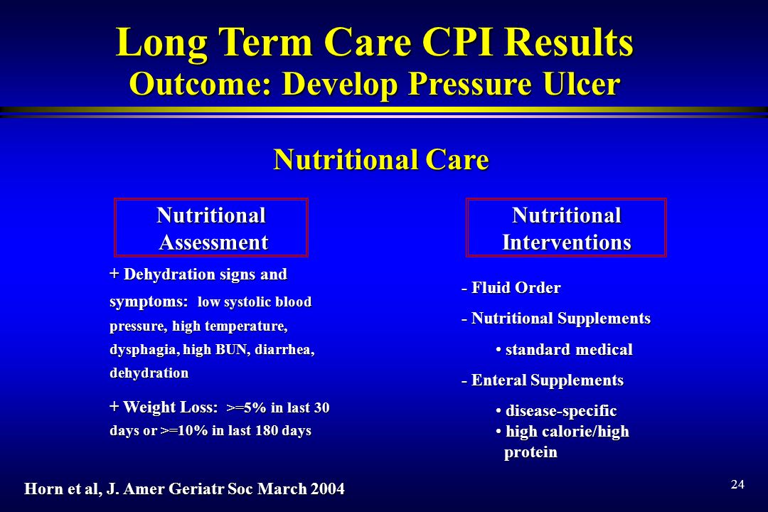 24 Long Term Care CPI Results Outcome: Develop Pressure Ulcer Nutritional Assessment AssessmentNutritionalInterventions + Dehydration signs and symptoms: low systolic blood pressure, high temperature, dysphagia, high BUN, diarrhea, dehydration + Weight Loss: >=5% in last 30 days or >=10% in last 180 days - Fluid Order - Nutritional Supplements standard medical standard medical - Enteral Supplements disease-specific disease-specific high calorie/high high calorie/high protein protein Nutritional Care Horn et al, J.