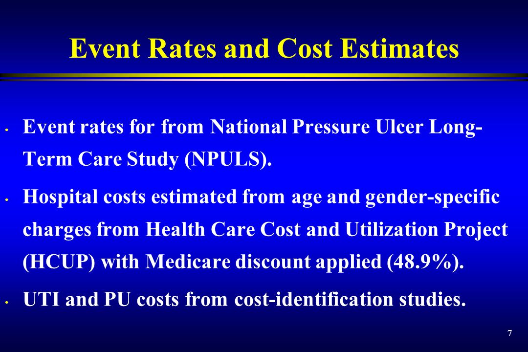 7 Event Rates and Cost Estimates Event rates for from National Pressure Ulcer Long- Term Care Study (NPULS). Hospital costs estimated from age and gen