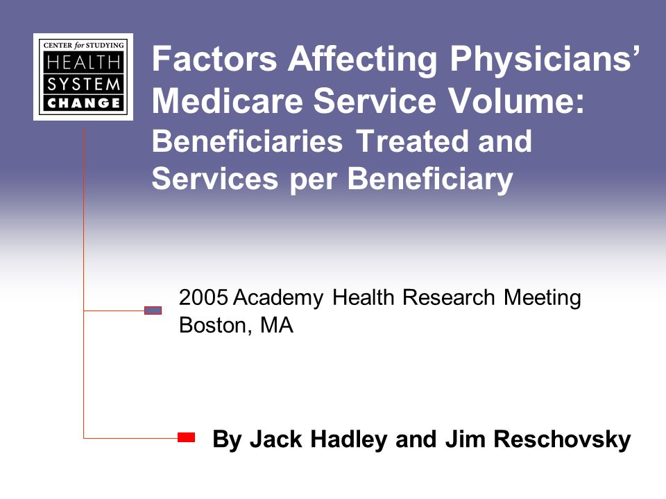 Factors Affecting Physicians Medicare Service Volume: Beneficiaries Treated and Services per Beneficiary By Jack Hadley and Jim Reschovsky 2005 Academy Health Research Meeting Boston, MA