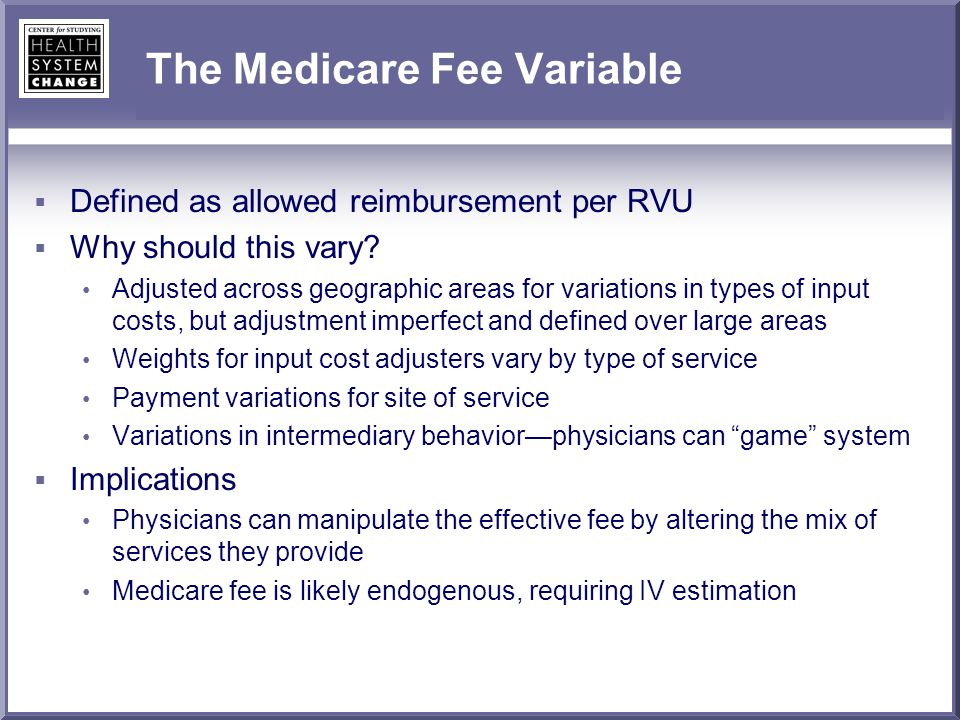 The Medicare Fee Variable Defined as allowed reimbursement per RVU Why should this vary.