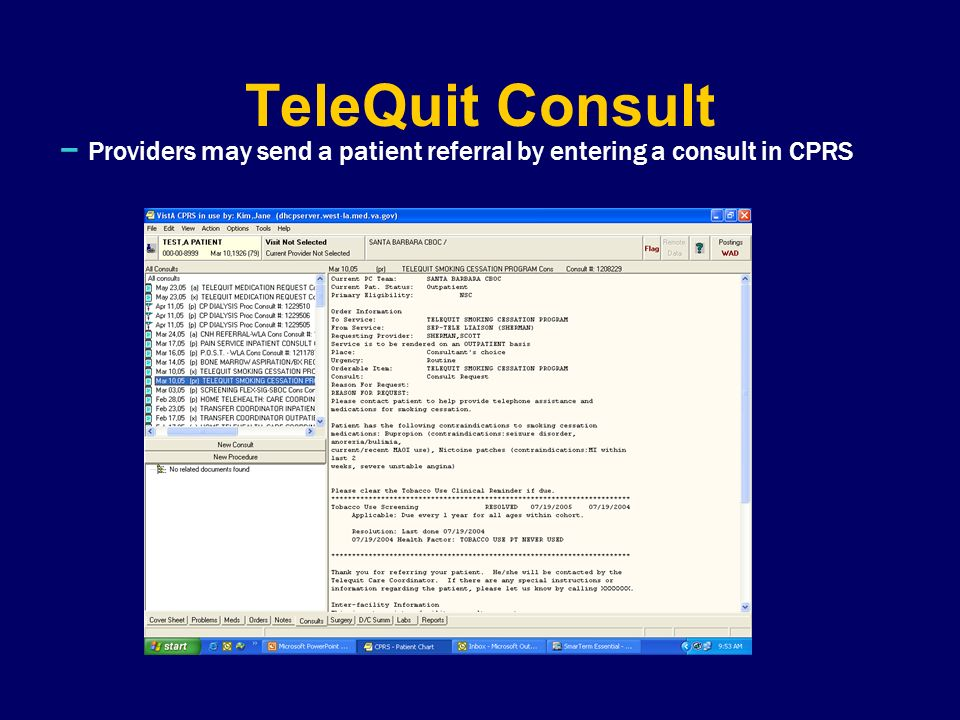 TeleQuit Consult – Providers may send a patient referral by entering a consult in CPRS