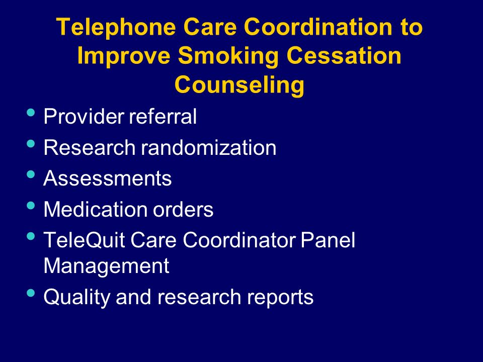 Telephone Care Coordination to Improve Smoking Cessation Counseling Provider referral Research randomization Assessments Medication orders TeleQuit Care Coordinator Panel Management Quality and research reports