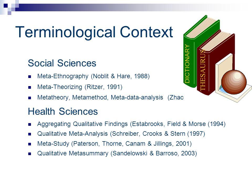 Terminological Context Social Sciences Meta-Ethnography (Noblit & Hare, 1988) Meta-Theorizing (Ritzer, 1991) Metatheory, Metamethod, Meta-data-analysi