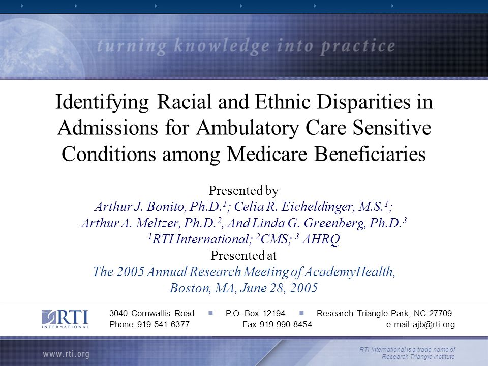 Identifying Racial and Ethnic Disparities in Admissions for Ambulatory Care Sensitive Conditions among Medicare Beneficiaries Presented by Arthur J.