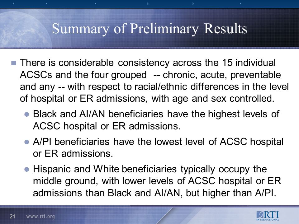 21 Summary of Preliminary Results There is considerable consistency across the 15 individual ACSCs and the four grouped -- chronic, acute, preventable and any -- with respect to racial/ethnic differences in the level of hospital or ER admissions, with age and sex controlled.