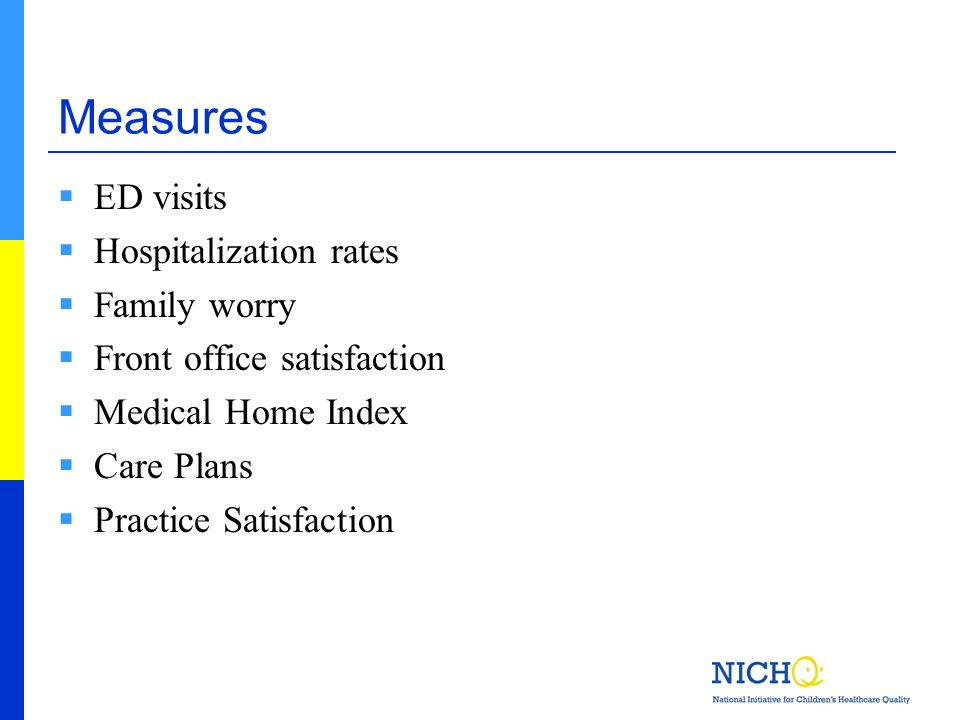 Measures ED visits Hospitalization rates Family worry Front office satisfaction Medical Home Index Care Plans Practice Satisfaction